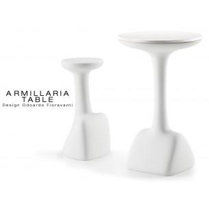 ARMILLARIA table design pour terrasse et jardin, piétement blanc, plateau stratifié blanc en bois de bouleau.