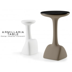 ARMILLARIA table design pour terrasse et jardin, piétement marron, plateau stratifié noir en bois de bouleau.