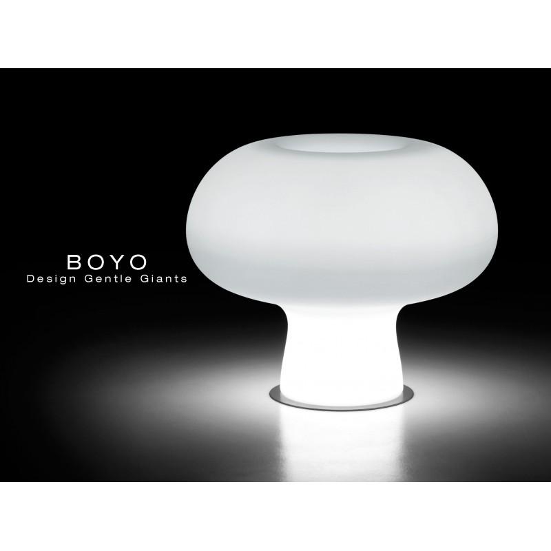 Vase lumineux BOYO pour intérieur et extérieur en polycarbonate de couleur neutre (blanche).