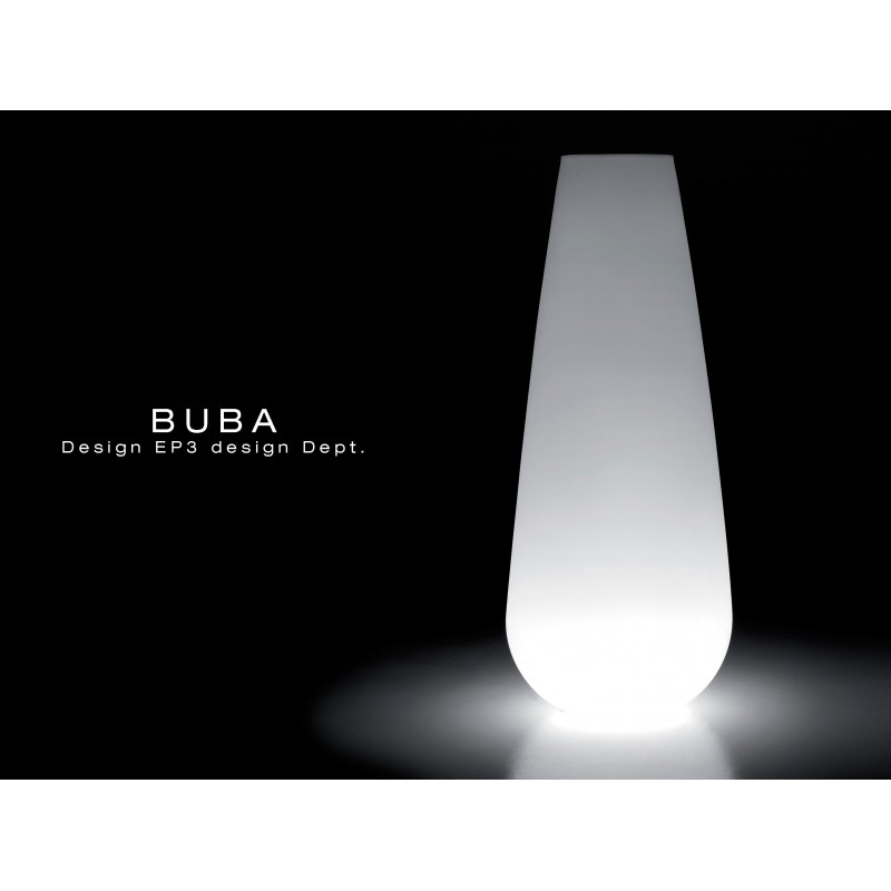 Vase lumineux BUBA pour intérieur et extérieur en polycarbonate de couleur blanche (neutre).