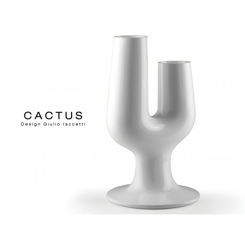 CACTUS vase déco couleur blanc mat.