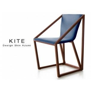 Lot de 8 fauteuils KITE, structure finition acajou, tissu couleur bleu.