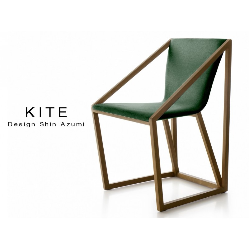 Lot de 8 fauteuils KITE, structure finition noyer moyen, tissu couleur vert sapin.
