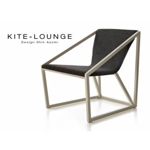 Fauteuil KITE lounge en bois finition peinture blanche (mat ou brillante) tissu Argos-2 noir..