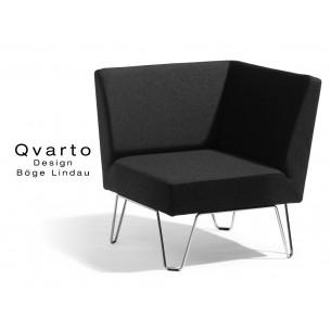 QVARTO canapé d'angle modulable habillage tissu CAMIRA gamme Xtrème couleur Andaman (noir).