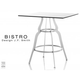 """Lot de 2 tables """"BISTRO"""" carré au design rétro blanche."""