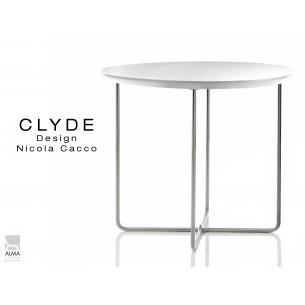 CLYDE petite table d'appoint structure chromé plateau blanc.
