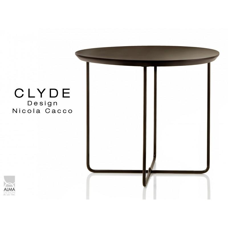 CLYDE petite table d'appoint structure peinture noir, plateau noir.