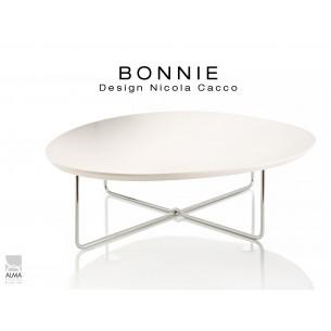 BONNIE table basse pour salon structure chromé, plateau blanc.