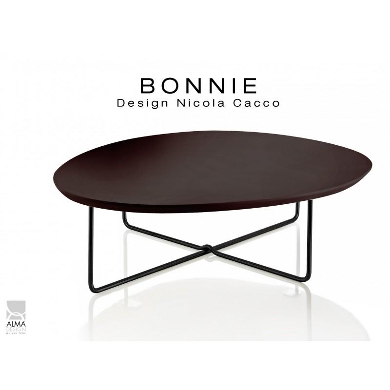 BONNIE table basse pour salon structure peinture noir, plateau marron foncé.