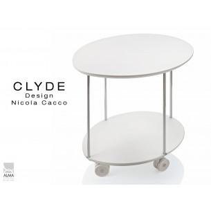 CLYDE petite table d'appoint sur roulettes structure chromé, plateau blanc.