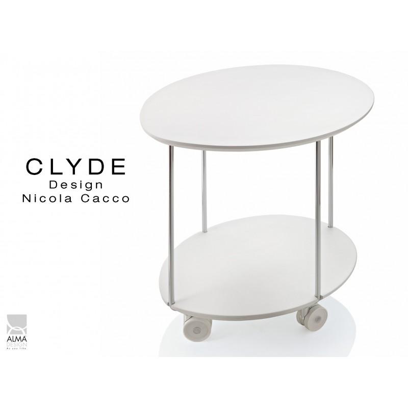 Table D Appoint Sur Roulette Clyde Piétement Acier Plteau Peint