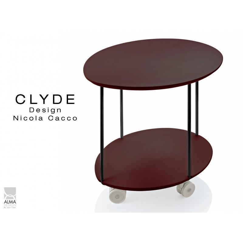 CLYDE petite table d'appoint sur roulettes, structure peinture noir, plateau marron foncé.