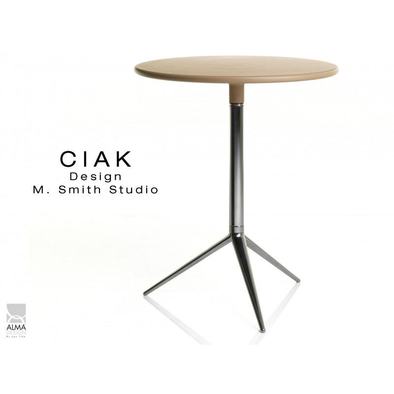 CIAK table ronde de bar pied aluminium plateau fixe couleur sable.