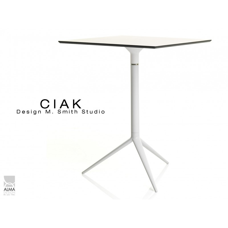 CIAK table carré 55x55 cm de bar en aluminium plateau rabattable de couleur lanche.