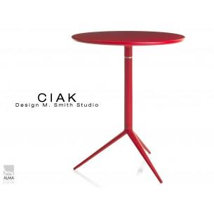 CIAK table ronde Ø60 cm plateau rabattable, piétement finition peinture rouge.