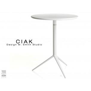 CIAK table ronde Ø60 cm plateau rabattable, piétement finition peinture blanc.