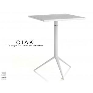 CIAK table carré 55x55 cm de bar en aluminium plateau fixe blanc.