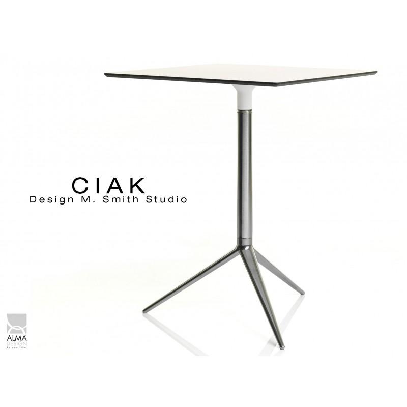 CIAK table carré 59x59 cm de bar en aluminium plateau fixe blanc.
