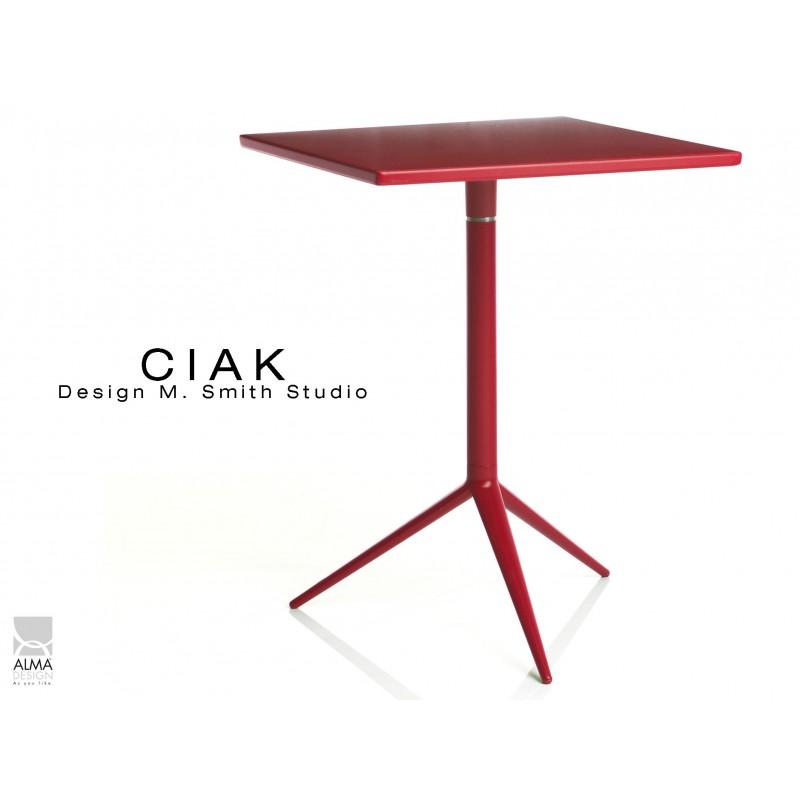 CIAK table carré 55x55 cm de bar en aluminium plateau fixe rouge.