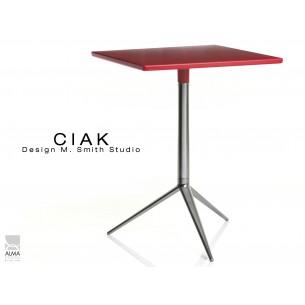 CIAK table carré 55x55 cm de bar en aluminium poli plateau fixe rouge.