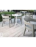 CIAK table ronde Ø60 cm plateau fixe, piétement finition peinture blanche.