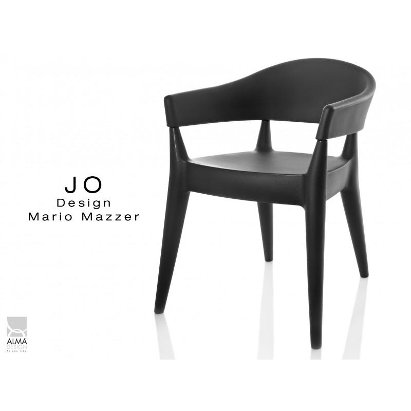 JO fauteuil en polypropylène - lot de 2 fauteuils noir.