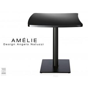 AMÉLIE table carrée plateau fantaisie résine couleur noire.