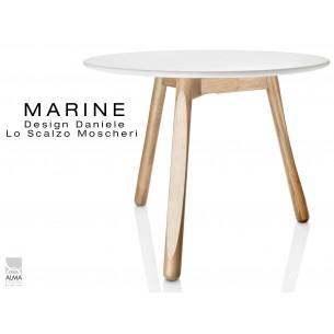 MARINE table ronde piétement 3 pieds finition naturel -Plateau blanc.