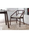 MARINE table ronde piétement 3 pieds pour salle à manger.