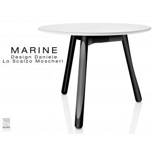 MARINE table ronde piétement 3 pieds noir - Plateau blanc.