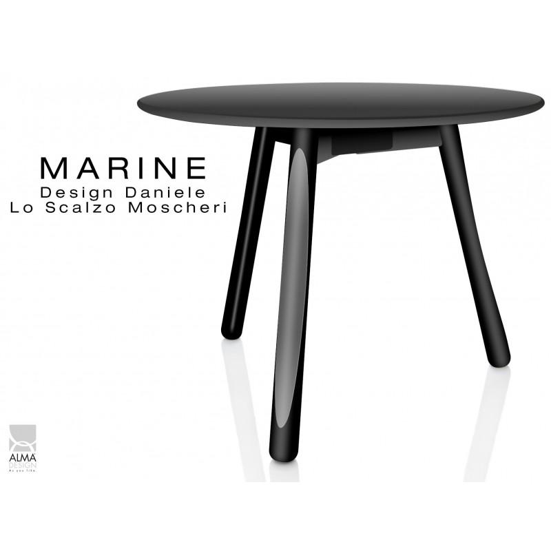 MARINE table ronde piétement 3 pieds noir - Plateau noir.