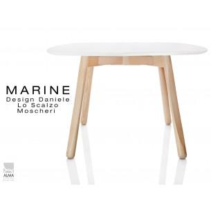MARINE table carrée piétement 4 pieds finition naturel - Plateau blanc.