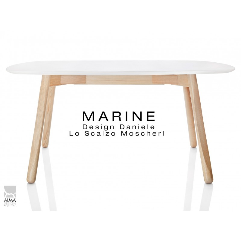 Moderne Table rectangulaire pour salle à manger MARINE piétement bois 4 LC-13