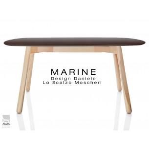 MARINE table rectangulaire piétement 4 pieds finition naturel - Plateau marron.