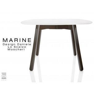 MARINE table carrée piétement 4 pieds finition noir - Plateau blanc.