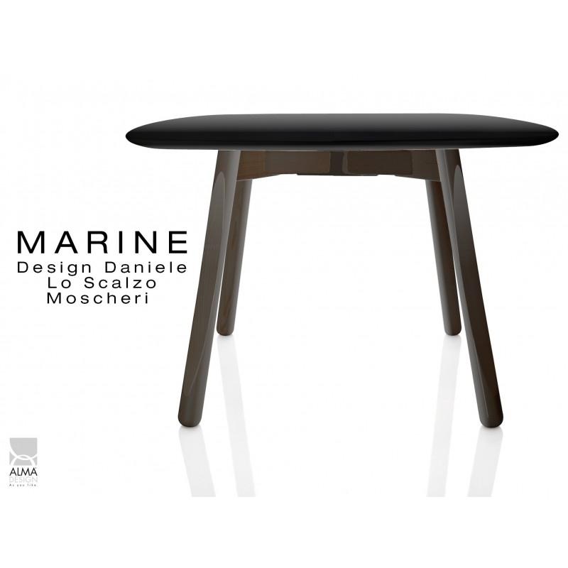 MARINE table carrée piétement 4 pieds finition noir - Plateau noir.
