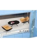 """Table basse """"X-TABLE"""" pour salon, hall et salle d'attente, existe aussi avec le piètement en acier."""
