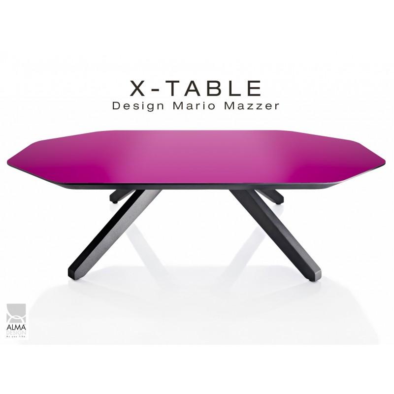"""Table basse """"X-TABLE"""" COULEUR pour salon, hall et salle d'attente, plaquage plateau violet."""
