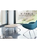 """Table basse """"X-TABLE COULEUR """"pour salon, hall et salle d'attente, piétement acier."""