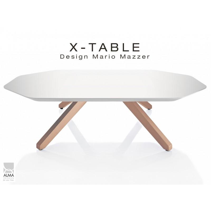 """Table basse """"X-TABLE """" piètement Chêne pour salon, hall et salle d'attente, plateau laqué blanc."""