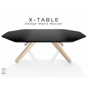 """Table basse """"X-TABLE """" piètement Frêne naturel pour salon, hall et salle d'attente, plateau laqué anthacite."""