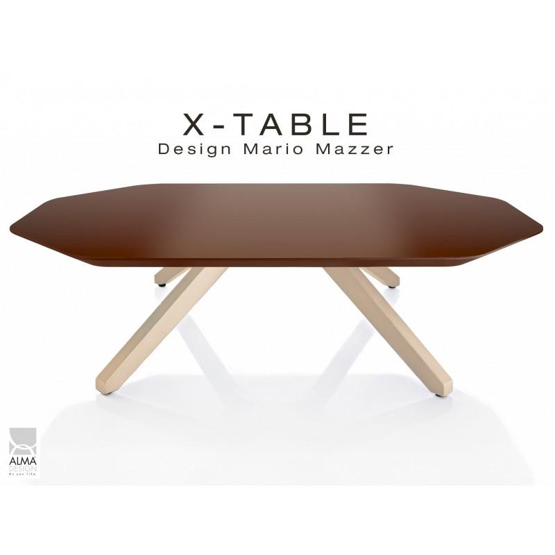 """Table basse """"X-TABLE """" piètement Frêne naturel pour salon, hall et salle d'attente, plateau laqué marron."""