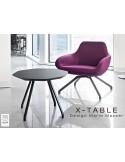 """Table basse """"X-TABLE """" piètement Frêne naturel pour salon, hall et salle d'attente."""