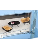 """Table basse """"X-TABLE """" piètement Frêne naturel pour salon, hall et salle d'attente"""