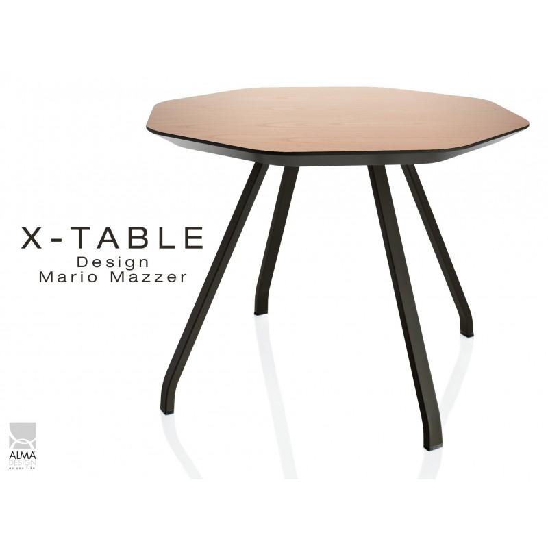 X-TABLE piétement acier, pour salon, hall et salle d'attente - Plateau Chêne naturel.