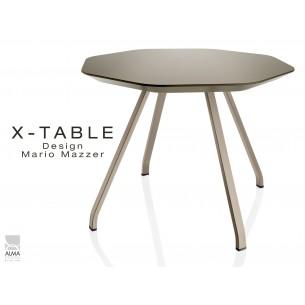 Table d'appoint X-TABLE COULEUR piétement acier sable, plateau vert militaire.