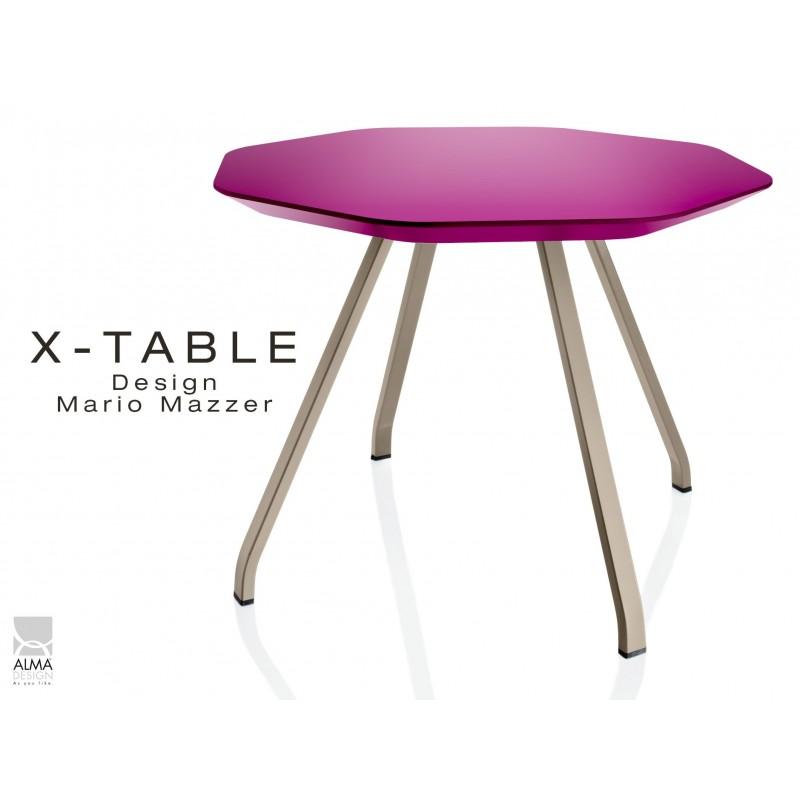 Table d'appoint X-TABLE COULEUR piétement sable, plateau violet.