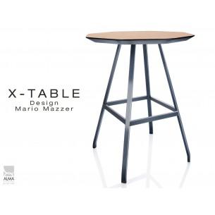 X-TABLE mi-haute piétement acier anthracite, plateau en bois de Frêne finition Chêne naturel.
