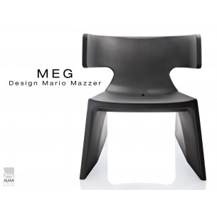 MEG fauteuil design en polyéthylène - lot de 3 fauteuils, noir.